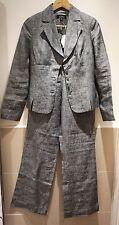 Sino al 100% Lino Grigio Slim Suit Blazer corrispondente e Pantaloni Taglia UK 6-8 * BNWT *