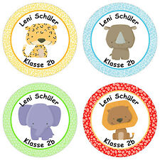 24 personalisierte Namensaufkleber Schule – mit Wilde Tiere Motiv für Jungen ...