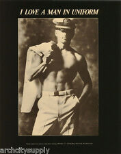 MINI POSTER: ANDRE FISET - I LOVE A MAN IN UNIF-SEXY MALE MODEL #APR34  RP58 O-C