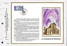 3021++FEUILLET CEF SUR  SOIE 1er JOUR 1996  CATHEDRALE  DE  CHAMBERY