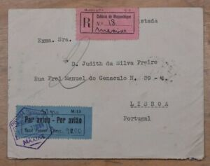 Mayfairstamps Mozambique 1937 to Portugal Registered Official Free Frank Cover w