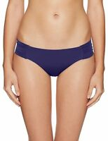 Trina Turk Women's Studio Solids Shirred Side Hipster Bikini Bottom, Navy, 6