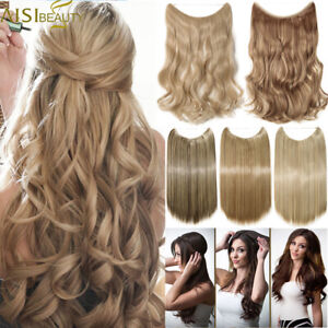 """16-24"""" Halos Hidden Wire In Hair Extensions Invisible Natural As Human Hair FO1"""