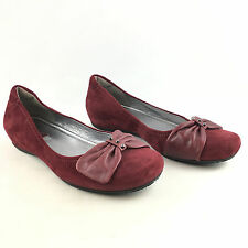ECCO Women's Dark Red Suede Slip On Bouillon Bow Flats Shoes EU 39/US 8-8.5