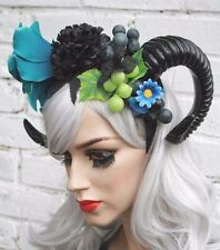 BLACK FLOWER RAM DEVIL HORN FAUN pan HORNED CROWN HEADBAND GRUNGE GOTHIC fantasy