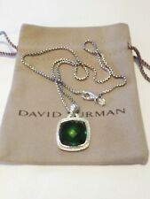 David Yurman 925 Silver Albion 17mm Peridot & Diamond Pendant Chain 16""