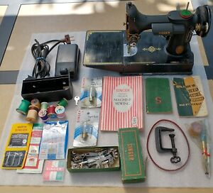 Singer 221 Featherweight Sewing Machine, manuals, accessories, case, key