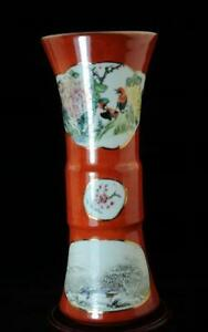 China old hand-made Pastel porcelain Birds and flowers vase/qianlong mark
