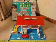 Rare! Vintage Esso gas, service station, fold-up diecast car play set by Kresge.