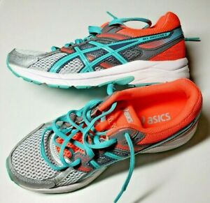 ASICS Gel Contend 3 Womens Running Shoes Aqua Neon Coral Turquoise Silver Size 6