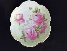 ZS & Co Bavaria Cabinet Plate Marseiles Series Iridescent Pink Roses c.1880-1918