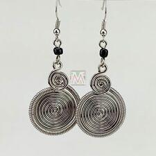Maasai Market African Kenya Jewelry Silver Wire Two Spirals Earrings 636-25