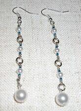 Pearl and light blue crystal beads handmade dangle pierced earrings #232