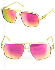 Designer Oversized Square Aviator Sunglasses Metal Bar Retro Frame Men Fashion