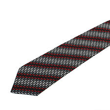 11118 auth HERMES black silver grey red burgundy silk Tie