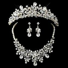 Silver Freshwater Pearl, Swarovski Crystal Bead and Rhinestone Tiara Headpiece 9