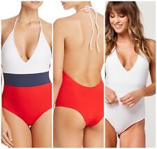TAVIK CHASE COLORBLOCK ONE PIECE SWIMSUIT REVERSIBLE WHITE RED BLUE SIZE SMALL