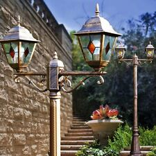 Kandelaber Wege Lampen Aussen Steh Leuchte Stehlampe braun-gold Laterne Glas