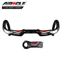Carbon Bicycle Handlebar Stem Road Bike Drop Bar Bent 3K 28.6*400//420//440mm