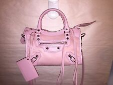 nwt authentic BALENCIAGA pale pink PONY city bag