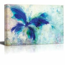 Blue Butterfly on a Vintage Watercolor Background - Canvas Art- 24x36