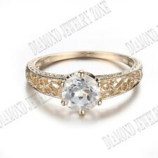 Antique Style Filigree 7.5mm Round White Topaz Anniversary Ring 10K Yellow Gold
