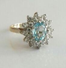 "BRAND NEW 9ct Gold Blue Topaz Cubic Zirconia Ring UK size ""M"" Hallmarked 4.1g"