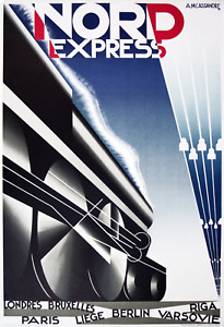 A.M. CASSANDRE Nord Express 40 x 27.75 Lithograph 1980 Vintage Blue, Black & Whi