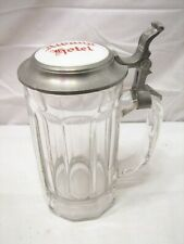Albany Hotel Ny Porcelain Button Pewter Lidded Stein Beer Glass Bar Mug