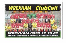 ClubCall Club Call Football Fixture List Card 1991-1992 Season - Wrexham