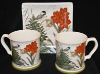 Grace Amaryllis & Birds Porcelain Christmas Coffee Mugs & Plates Set of 4 New