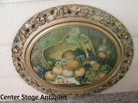 ART FS:   Antique Victorian Oval Fruit Print in Wood and Gesso Frame