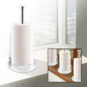 Freestanding Stainless Steel Kitchen Roll Holder Paper Towel Metal Pole Stand
