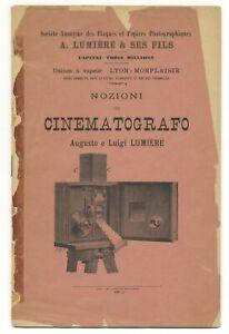 Cinématographe Auguste et Louis LUMIÉRE Notice d'instruction en italien 1897