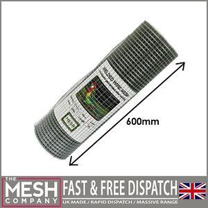 """13mm Galvanised Welded Wire Chicken Rabbit Mesh 1/2"""" x 1/2"""" 20G 5m x 600mm Roll"""