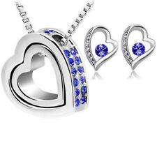 Herzkette Silber Blau mit Swarovski® Kristall Schmuckset Herz Halskette Ohrringe