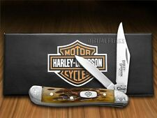 CASE XX Harley-Davidson Motorcycles Jigged Antique Bone Peanut Pocket Knife