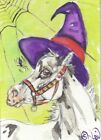 ACEO original Watercolor Art Card Horse super cute fewspot Appy foal Witch hat