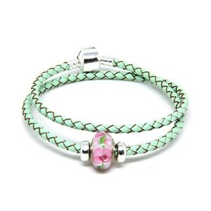 Double Leather Bracelet with 925 Silver Clip, Stoppers & Murano Charm Pale Green