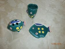 Vtg Set 3 Ceramic Vanity Accessories Fish  Soap Toothbrush Holder Cup Teal Green