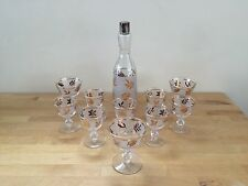 Libbey Mid Century Gold Leaf- 7 Cocktail Cordial Glasses, 3 Sherbet & Decanter