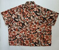 Caribbean Hawaiian Floral Men's 4XL Button Up Short Sleeve Shirt Silk & Cotton