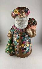 Vintage Ceramic Pink Bright Colored Buttons Santa Figurine Sewing Theme Santa