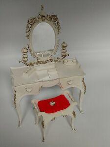 Barbie Susie Goose Vanity and Stool Phone Kleenex Box Rare White Vintage 1963