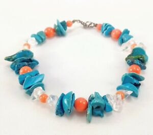 Turquoise Stone Coral Bead & Polished Glass 925 Clasp Bracelet - 7.5 Inch Length