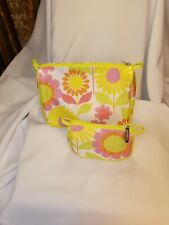 Clinique 2pc Makeup/Toiletries Large & Small Zippered Bags, floral theme/colors
