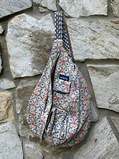 KAVU Rope Bag Crossbody Sling Backpack Cotton Floral Pattern Retired