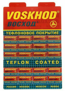 VOSKHOD Razor Blades Teflon Coated Double Edge 100 pcs (20 packets of 5 pcs)