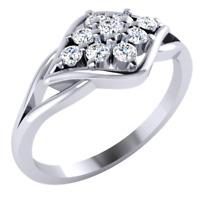 Anniversary engagement prong setting 0.45ct diamond Ring 14k white gold plated