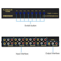 8 In 1 Out Composite Video Audio RCA AV Switch Switcher Selector Box New